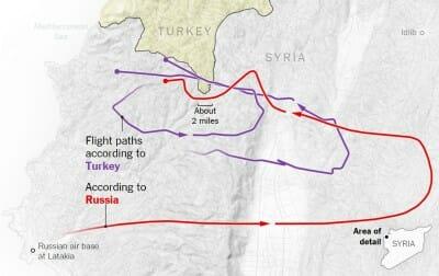 Die türkische Regierung behauptet, der russische Su-24 Bomber wäre über einen zwei Meilen breiten Streifen am südlichsten Zipfel der Türkei hinweggeflogen. Russland behauptet, der Bomber hätte diesen umflogen. Quelle: New York Times