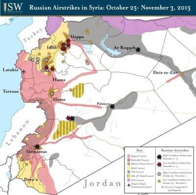 Russlands Militärschläge treffen in überwältigender Mehrheit von Rebellen kontrolliertes Gebiet im Westen Syriens, Angriffe auf IS-Stellungen bleiben die Ausnahme. Quelle: Institute for the Study of War-CC-BY ND 2.0