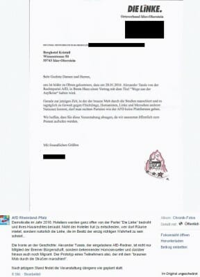 Brief samt AfD Post auf Facebook, hier geschwärzter Name.