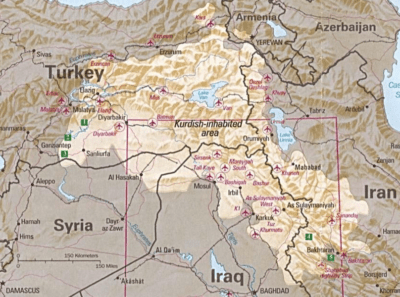 Die Verteilung der Kurden. Foto: Kurdish-inhabited area by CIA (1992), licensed under CC BY-SA 3.0, Perry-Castañeda Library Map Collection at The University of Texas at Austin